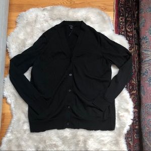 COS Black Wool Blend Button-Up Cardigan